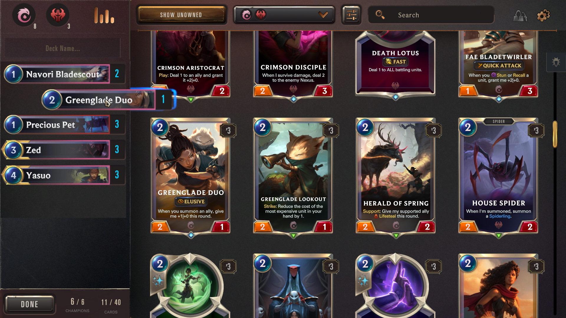 Legends of Runeterra Deckbuilding